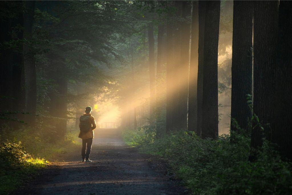 Nainen kävelee metsässä stressittömänä.